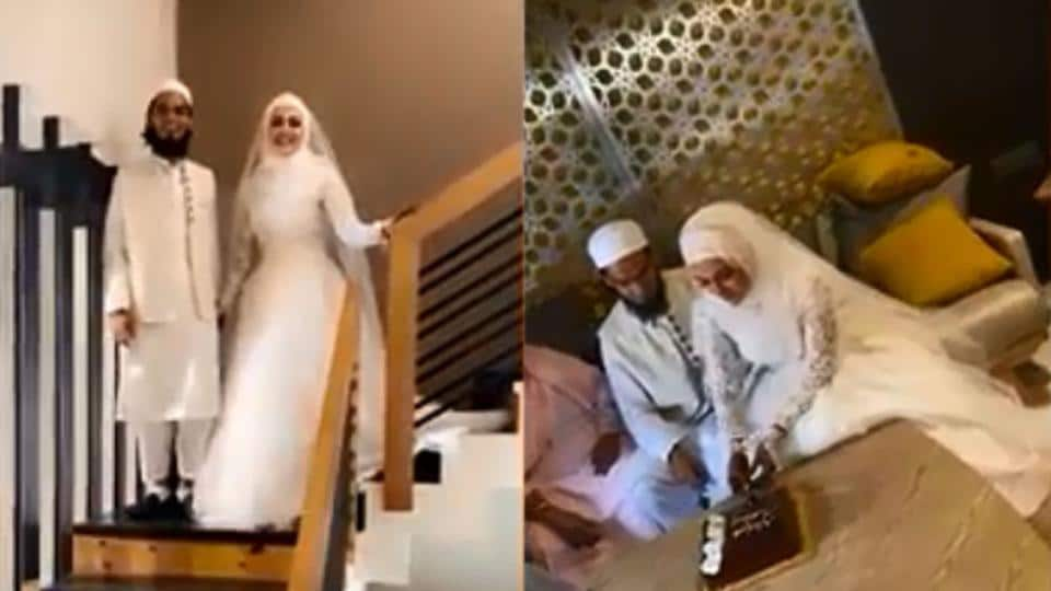 Sana Khan  turns a princess in white as she marries Surat-based Mufti Anaas, see viral video