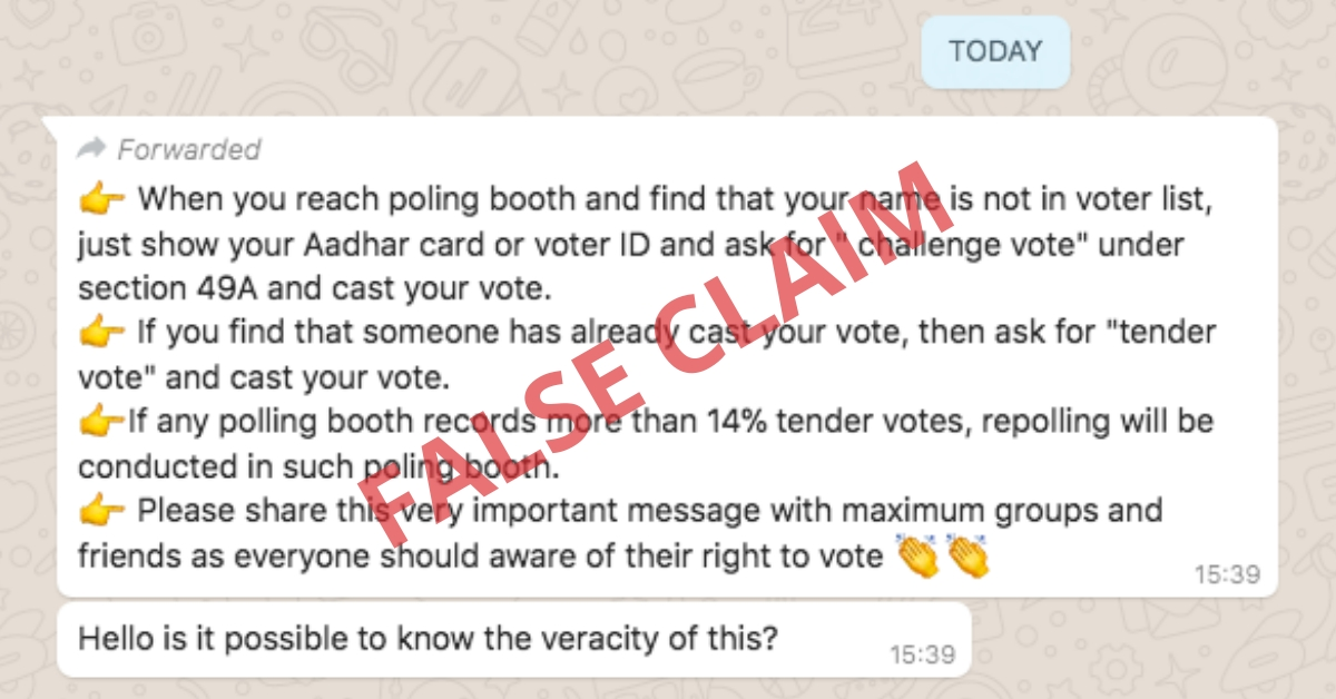 False claim: Voters can ask for 'challenge vote' if name is missing from electoral roll - Alt News