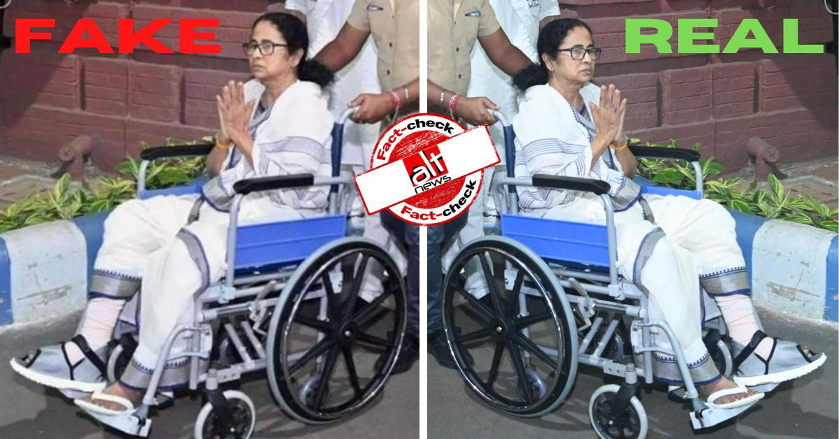 Mirror image used to portray Mamata Banerjee faked her leg injury - Alt News