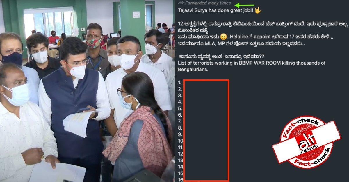 How BJP MP Tejasvi Surya communalised BBMP bed scam with misinformation - Alt News