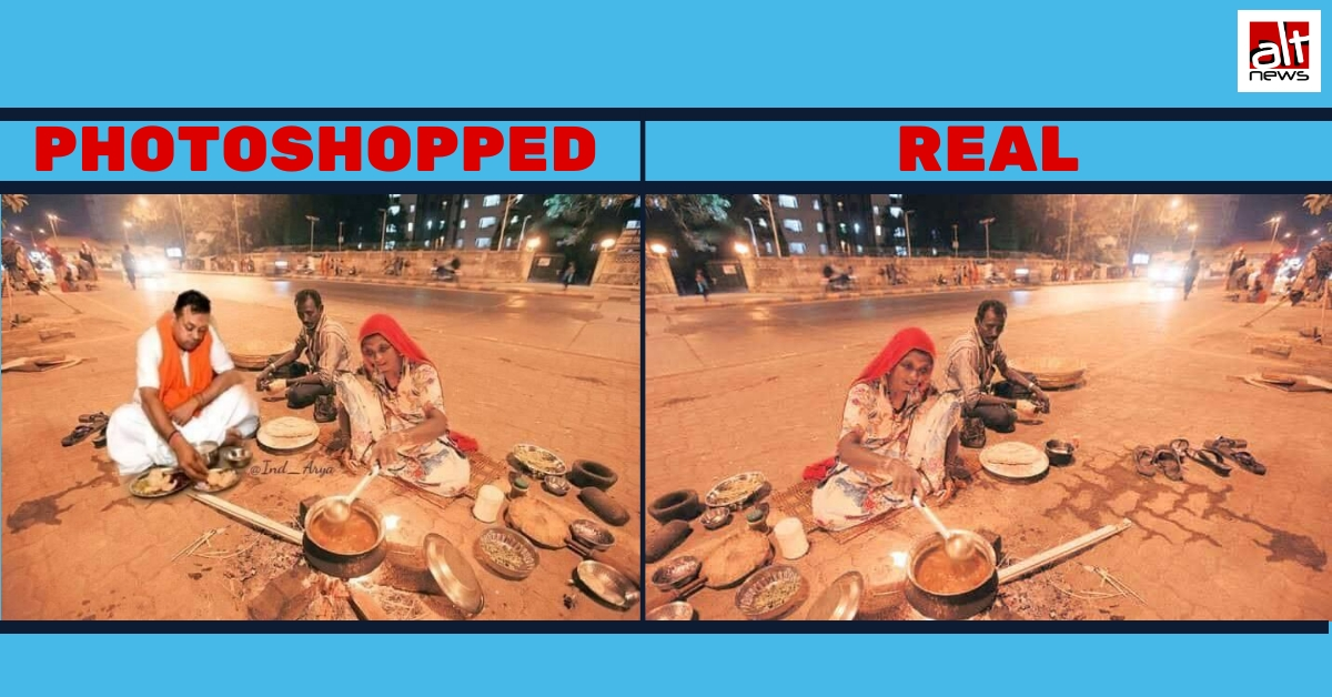 Viral: Photoshopped image of Sambit Patra dining on footpath with homeless couple - Alt News