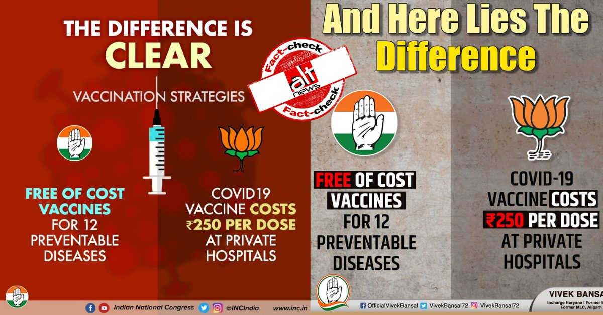 Congress posts misleading comparison on COVID-19 vaccine price - Alt News